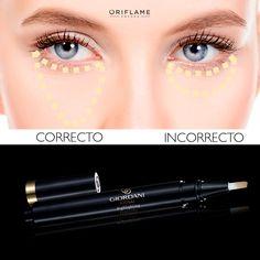 #OriTip: Aplica el #corrector de la manera correcta para iluminar tu mirada de manera instantánea y obtener un look más fresco. #Iluminador #Ojos #Corrector #Mirada #TipsMaquillaje