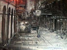 D'Light-ful-Alley: Nighttime in Exchange Alley, a piece by Adrian Fulton of Adrian Fulton's Fine Art Gallery Digital Art Gallery, Fine Art Gallery, Fulton, Night Time, Art Gallery