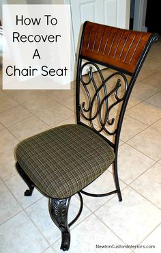 How To Recover A Chair Seat from NewtonCustomInteriors.com  Learn how to recover a chair seat with this step-by-step tutorial - includes adding cording around the edge!