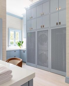 Our designer has elevated the art of laundry with stylish, custom blue cabinetry, campaign style hardware & lattice door fronts. Laundry Room Colors, Mudroom Laundry Room, Laundry Room Organization, Laundry Room Design, Custom Home Builders, Custom Homes, Laundry Room Inspiration, Armoire, Loft