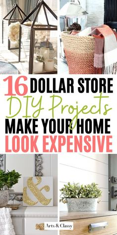 DIY High End Home Decorating on a Budget from The Dollar Store - - Dollar Store hacks are some of my favorite projects to look up online. I am always amazed at what people think up to dress up cheap decor. Dollar Store Hacks, Astuces Dollar Store, Dollar Stores, Dollar Dollar, Diy Home Decor Rustic, Diy Home Decor Easy, Bedroom Decor Diy On A Budget, Diy Home Décor, Farmhouse Decor