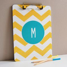 Personalized clipboard // Sarah + Abraham #custom #chevron #office