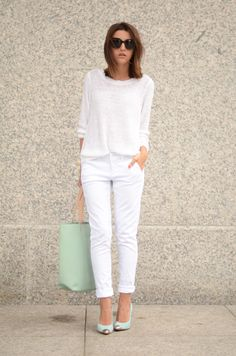 I love the ALL white with the mint/metallic shoes