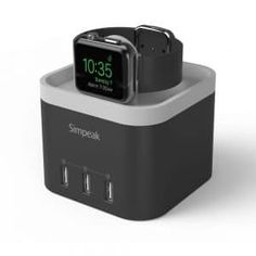 Simpeak 4 Port USB Charger Station for Apple Watch[Nightstand Mode], with Phone Holder Charger Stand for iPhone and other Smartphone,iPad - Black Best Apple Watch, Apple Watch Series 2, Apple Watch Charging Stand, Phone Charger Holder, Docking Station, Cell Phone Accessories, Usb, Tops, Nightstand