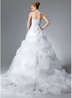 Ball-Gown Sweetheart Chapel Train Organza Satin Wedding Dress With Embroidered Ruffle Beading Sequins (002004178) - JJsHouse