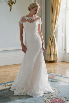 High Neck Fit and Flare Wedding Dress  in Lace. Bridal Gown Style Number:33313446