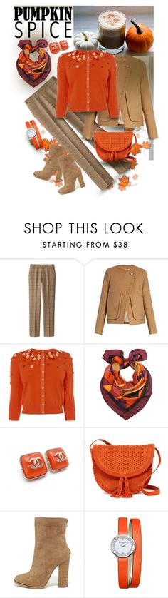 """Pumpkin Spice - Latte Date Outfit"" by giovanina-001 ❤ liked on Polyvore featuring Uniqlo, See by Chloé, Emily Carter, Chanel, Shiraleah, X2B and Baume & Mercier"