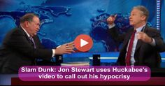 Mike Huckabee came to peddle his book about the Red State/Blue State divide. Jon Stewart treated him to an embarrassing reality detailing his hypocrisy. Nailed it.