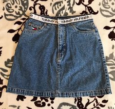 Women's TOMMY HILFIGER Vintage 90s Denim Jean Skirt Sz 6 Logo Flag Retro Hipster  | eBay