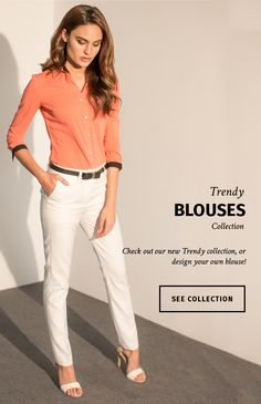 Made to measure clothing to ensure perfect fit! Suits For Women, Clothes For Women, Trendy Collection, White Pants, Coral Color, Perfect Fit, Casual Outfits, Shirt Dress, Female