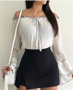 Shop Blouses & Shirts Off Shoulder Bell Sleeve Casual Blouse Summer Outfits, Casual Outfits, Fashion Outfits, Women's Casual, Fashion Fashion, Fashion Ideas, Winter Fashion, Hippie Fashion, Fashion Skirts