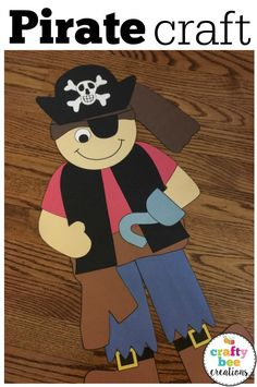 Ahoy Mateys! This is such a cute craft for a pirate themed classroom or bulletin board. Kids will love creating this approx. 2 foot tall craft using simple and easy patterns you can download and print out.