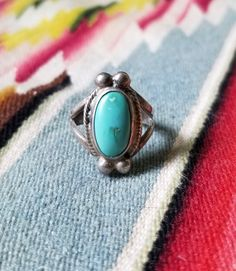 Vintage Sterling Silver & Turquoise Ring -  sz 9 1/4 by delilahsdeluxe on Etsy