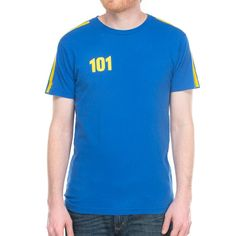 """Men's short sleeve crew neck t-shirt made from 100% ringspun cotton, garment dyed """"vault"""" blue with yellow stripes printed on the the shoulder seams and one color screenprint on the left chest. Please Note: The process of printing over the seam may cause minor imperfections."""