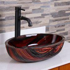 $115. Glass Flat Bottom Bathroom Sink