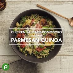 As you plan your menu for the week, focus on incorporating a variety of foods to build balanced meals. Our Publix Aprons Better Choice Chicken Sausage-Pomodoro Sauté with Parmesan Quinoa makes a satisfying dinner, with GreenWise chicken sausage, fresh kale and asparagus, and hearty quinoa—a gluten-free grain. #chickensausagerecipe