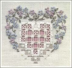 Hardanger Embroidery Patterns an ornament in the style of an antique heirloom sampler Embroidery Hearts, Hardanger Embroidery, Learn Embroidery, Ribbon Embroidery, Floral Embroidery, Cross Stitch Embroidery, Embroidery Patterns, Cross Stitch Patterns, Drawn Thread