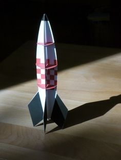 Take to the stars – paper rocket.  Free PDF template available.