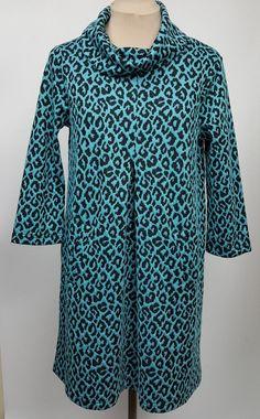 Tyler Boe dress S tunic style cowl neck aqua and black leopard print #TylerBoe #Tunic #WeartoWork