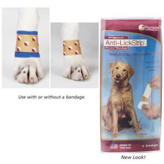 Dog Anti-Lick Strip-These bandage-like strips provide an easy, safe and effective deterrent to obsessive behaviors such as dog licking paws or wounds, or compulsive chewing behaviors. Unique, medical-grade adhesive bandage strips are coated with all-natural organic powders that are clinically proven to protect hot spots, granulomas and post-surgical sites.