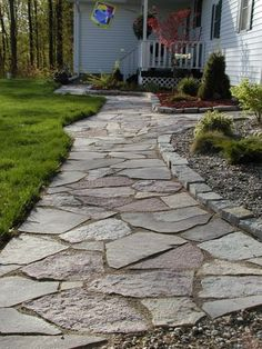 Front Yard and Garden Walkway Landscaping Inspirations 4 Rock Walkway, Front Yard Walkway, Outdoor Walkway, Front Yard Landscaping, Front Yards, Rock Path, Landscaping Edging, Paver Walkway, Hillside Landscaping