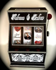 We&Apos;Ve done slot machine gift card boxes for all occasions but his spec Casino Wedding, Casino Party, Casino Theme, Vegas Themed Wedding, Casino Night, Pinup Art, Anniversary Parties, Wedding Anniversary, App Iphone