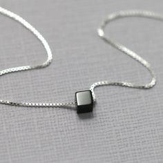 Black Onyx Necklace, Black Necklace, Black Onyx Tiny Cube Necklace, Sterling Silver Layering Necklace, Sterling Silver Necklace Gift for Her