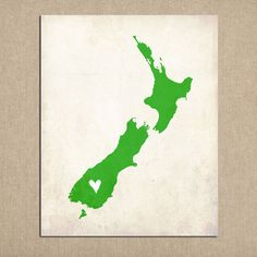 Personalized New Zealand Love Country Customizable Art 8x10 Print on Etsy, $16.00