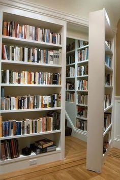 Traditional Library with Built-in bookshelf, Hardwood floors, Chair rail, Murphy door assembled prehung bookcase door package