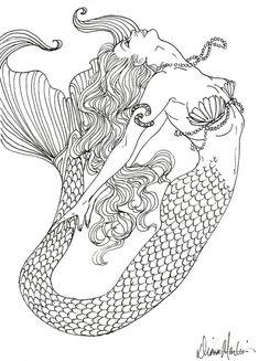 Mermaid Coloring Book for Adults Fresh Realistic Mermaid Coloring Pages Detailed Coloring Pages, Coloring Pages To Print, Coloring Book Pages, Printable Coloring Pages, Coloring Pages For Kids, Coloring Pages For Adults, Kids Coloring, Coloring Sheets, Mermaid Drawings