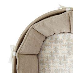 Sausalito Moses Basket bedding  - Flax/Mocha Trellis | Serena & Lily