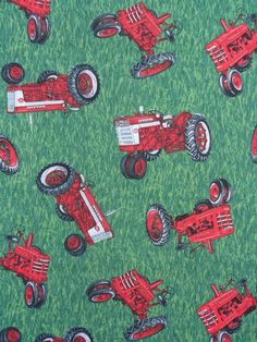 Farmall Tractor Fabric / International Harvester Tractors Fabric  / BTY. $8.00, via Etsy.
