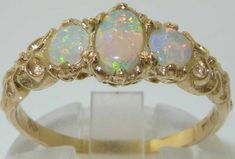 Solid 18K Yellow Gold Three Natural Fiery Opal by GemsofLondon