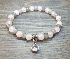 Bracelet de quartz rose et labradorite facetée Grade AA avec nuances bleutées Grade AA de la boutique BijouxDesignselect sur Etsy
