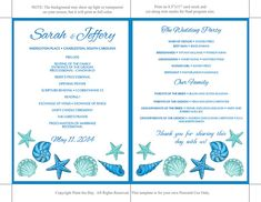 Beach Wedding Fan Microsoft Word Template  Blue Lagoon Teal by PaintTheDayDesigns | Etsy