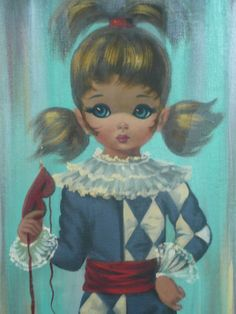 A big eye jester girl by Eden.  I had a pair of these in my bedroom in California.