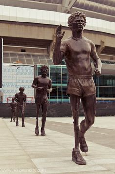 Terry Fox statues by artist Douglas Coupland. Terry Fox attempted to run across Canada to raise money for cancer research. He got halfway, then found out he had cancer again. The run ended and Terry later passed away, in his early