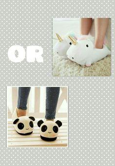 Panda or unicorn slippers??