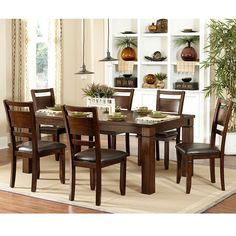 Coral Walnut 7-piece Extending Table Dining Set | Overstock.com Shopping - The Best Deals on Dining Sets 1,100