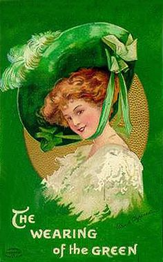 A sweetly pretty Edwardian lass sports a generously sized green hat on this lovely vintage St. Patty' Day postcard.