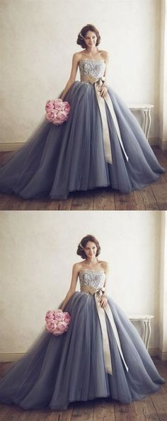 Strapless Wedding Dresses Gray A Line Strapless Tulle Wedding Dresses Ball Gowns With Bow Inexpensive Bridesmaid Dresses, Affordable Wedding Dresses, Luxury Wedding Dress, Perfect Wedding Dress, Tulle Wedding, Cheap Wedding Dress, Grey Wedding Dresses, Wedding Gowns, Grey Evening Dresses