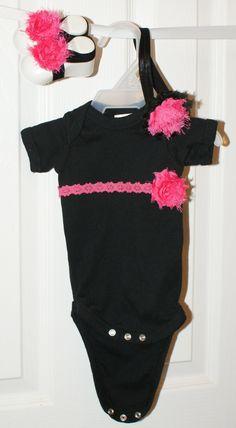 Newborn Baby Black and Hot Pink gift set, Newborn Red gift set. Newborn baby girl outfit. $30.00, via Etsy.