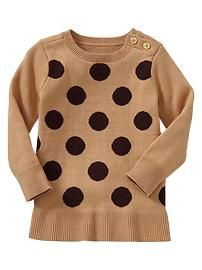 Dot tunic sweater, Gap Kids. Is it just me or does this look like a giant chocolate chip cookie? ;]