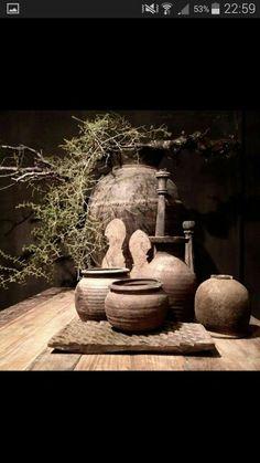 ♡ Wabi Sabi, Rustic Room, Rustic Decor, Japanese Aesthetic, Boho Kitchen, Garden Planters, Rustic Charm, Rustic Interiors, Rustic Design