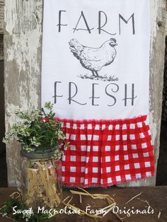 """Items similar to Flour Sack Kitchen Towel. Farmhouse Chicken Ruffle Country Cottage Chic Hen Style Red Gingham """"Farm Fresh"""" on Etsy Red Cottage, Cottage Chic, Cottage Style, Farmhouse Kitchen Signs, Farmhouse Chic, French Farmhouse, Farmhouse Windows, French Country, Kitchen Linens"""