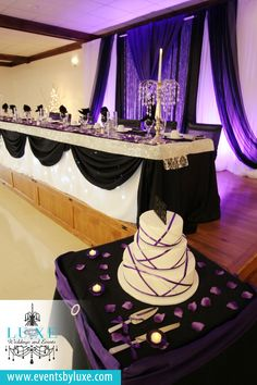 Purple black and white wedding backdrop,purple uplighting, purple black and…
