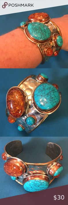 """""""NWOT""""COPPER/TURQUOISE BRACELET Stunning Copper Cuff with Turquoise & golden/orange shimmering stones, hammered texture. - Fashion Jewelry - Measurements in pics Can be tightened or widened to size A real stand-out!! 🚭, pet friendly home Jewelry Bracelets"""