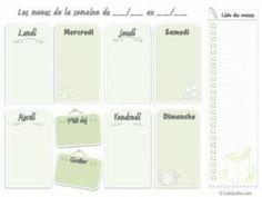 Kit gratuit : vos menus de la semaine en une page (planning vierge à imprimer - 3 couleurs) | ListoLabo