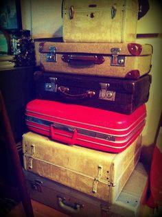 Old suitcases make for great storage and decoration!