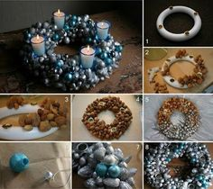 DIY Christmas Glass Centerpieces - Find Fun Art Projects to Do at Home and Arts and Crafts Ideas Christmas Wreaths To Make, Christmas Baubles, Homemade Christmas, Christmas Crafts, Christmas Decorations, Advent Wreath, Diy Wreath, Ornament Wreath, Cool Art Projects